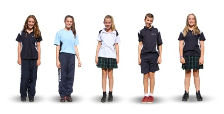 female students in blue and white school shirt and campbell school tracksuit pants
